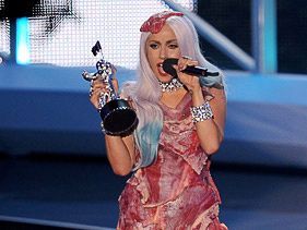 Lady Gaga on stage at the 2010 MTV Video Music Awards