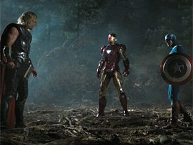 "Chris Hemsworth, Chris Evans and Robert Downey Jr. in ""The Avengers"""
