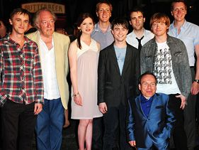 "The cast of ""Harry Potter"" at the Wizarding World of Harry Potter opening Wednesday"