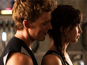 "Sam Claflin and Jennifer Lawrence in ""Catching Fire"""