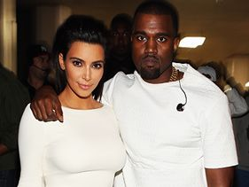 Kim Kardashian and Kanye West backstage at the 2012 BET Awards