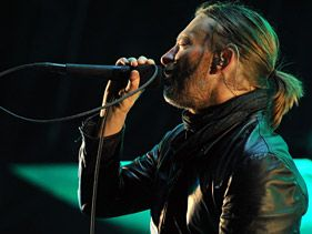 Radiohead's Thom Yorke performs during day two of the Coachella music festival