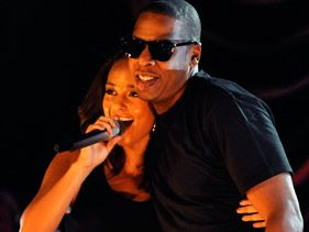 Alicia Keys and Jay-Z perform at the Alicia Keys Live! World Aids Day Charity Concert on December 1 in New York City