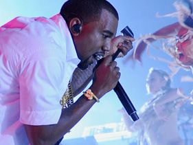 Kanye West performs at Revel Resort in Atlantic City on Friday