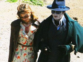 "Johnny Depp in character as Barnabas Collins while filming ""Dark Shadows"" in South Devon, UK, on September 13"