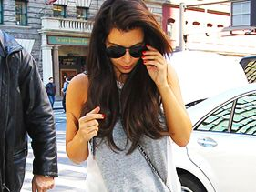 Kim Kardashian leaves Kanye West's apartment in New York City on April 5