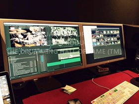 Special view of The Drumming Hall of Fame Movie (TM) production trailer being edited