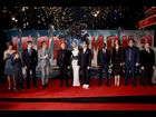 "Stephanie Szostak, Ty Simpkins, James Badge Dale, Guy Pearce, Sir Ben Kingsley, Gwyneth Paltrow, Robert Downey Jr., Don Cheadle, Rebecca Hall, Jon Favreau, and William Sadler at the Hollywood premiere of ""Iron Man 3"""