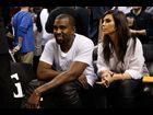 Kanye West and Kim Kardashian at the Miami Heat game on December 6, 2012