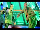 Justin Bieber and Will Smith after getting hit by slime at the Kids' Choice Awards 2012